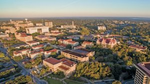 aerial view of Texas State University's campus